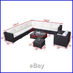 10PC Outdoor Patio Furniture Set PE Wicker Rattan Sofa Aluminum Frame Brown