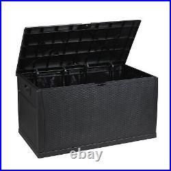 120-Gal Waterproof Outdoor Storage Box Large Bench Deck Box Brown /Black /Gray