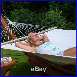 123X46X48 Wooden Curved Arc Hammock Stand with Cotton Hammock Outdoor New