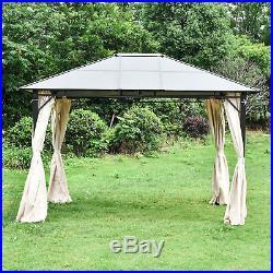 12'x10' Outdoor Patio Gazebo Canopy Tent Hardtop Polyester Roof Garden Pergola