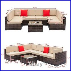 1-11PC Outdoor Wicker Rattan Sectional Patio Furniture Sofa Set Brown /w Cushion
