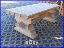1m Rundbohlen Sitzgarnitur Tisch 2 Bänke Biergarten Sitzgruppe Parkbank Holzbank