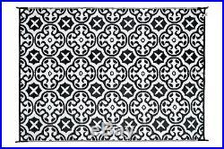 200x270cm Lisboa Black/White Outdoor/Indoor Plastic Rug/Mat Waterproof