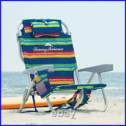 2020 Tommy Bahama Chairs Folding Backpack Beach Deck Blue Green Stripes 2-PACK