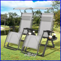 2PCS Folding Zero Gravity Garden Chairs Large Beach Recline Lounger 400LBS