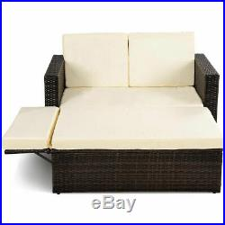2PCS Patio Rattan Loveseat Sofa Ottoman Daybed Garden Furniture Set WithCushions