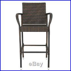 2PCS Rattan Wicker Bar Stool Outdoor Backyard Patio Furniture Chair with Armrest