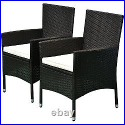2PC Outdoor Rattan Wicker Patio Furniture Dining Arm Chairs With Cushions