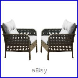 2PC Patio Rattan Sofa Set Wicker Garden Furniture Outdoor Sectional Couch Gray