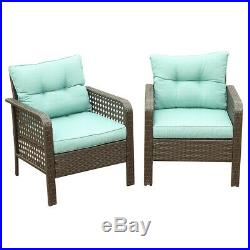 2PC Patio Rattan Sofa Set Wicker Garden Furniture Outdoor Sectional Couch Green