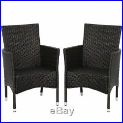 2PC Patio Rattan Wicker Dining Chairs Set Mixbrown With 2 Set Cushion Covers
