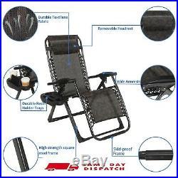 2X Outdoor Folding Zero Gravity Chair Lounge Beach Patio Recliner Adjustable UK