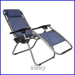 2 Folding Zero Gravity Lounge Chairs+Utility Tray Outdoor Beach Patio US oshion