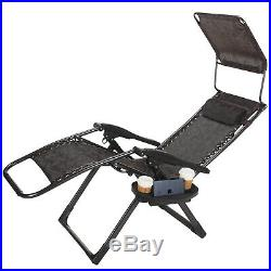 2 Large Zero Gravity Chairs Recliner Heavy Duty Garden Chair Portable Handle New