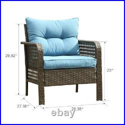2 PCS Chair Outdoor Patio Furniture Rattan Sofa Wicker Cushions Table Set Blue