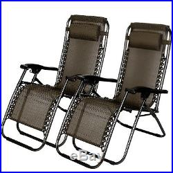 2 PCS Zero Gravity Folding Lounge Beach Chairs Outdoor Recliner in Black Paid