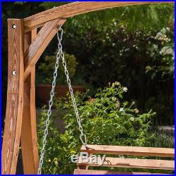 2 Person Garden Swing Seat Outdoor Patio Wooden Swinging Loveseat Bench Chair
