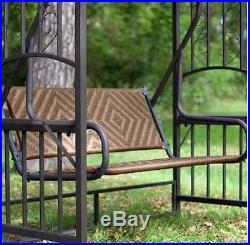 2 Person Wicker Gazebo Swing Patio Seat Outdoor Canopy Garden Backyard Glider