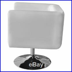 2 White Artificial Leather Bucket Armchair Chrome Swivel Base Club Chair Modern