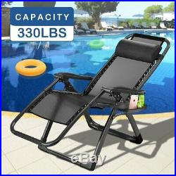 2 Zero Gravity Folding Lounge Patio Chairs withDrink Holder Beach Outdoor Recliner