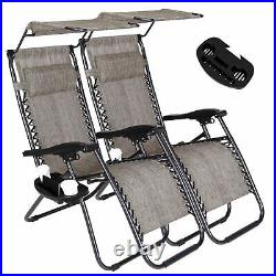 2 Zero Gravity Recline Chairs Folding Garden Camping Beach Sun Lounger WithCanopy