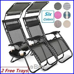 2 Zero Gravity Reclining Chairs Folding Garden Lounge Outdoor Beach Lawn WithTrays
