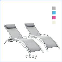 2 pcs Outdoor Living Lounge Chairs Beach Yard Patio Chairs Grey/Blue/Pink/White