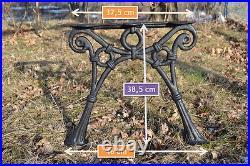 2 schöne Bankfüße Seitenteile Gartenbank aus Gusseisen Schwarz 3 Bretter-ZAG06