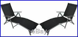 2x Dark Grey 7 Position Sun Lounger Modern Outdoor Chair Recliner Garden Folding