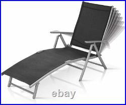 2x Grey Sun Loungers Adjustable Back/Arm Rest Garden Chair Bed Aluminium Folding