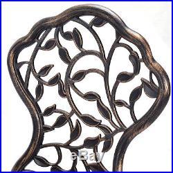 3PCS Outdoor Patio Furniture leaf Design Cast Aluminum Bistro Set Antique Copper