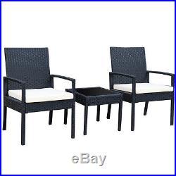 3PCS Outdoor Rattan Patio Furniture Set Backyard Garden Furniture Seat Cushioned