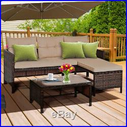 3PCS Outdoor Rattan Wicker Furniture Set Patio Couch Sofa Set with Coffee Table