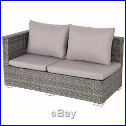 3PCS Outdoor Rattan Wicker Sofa Furniture Set With Adjustable Seat Patio Garden