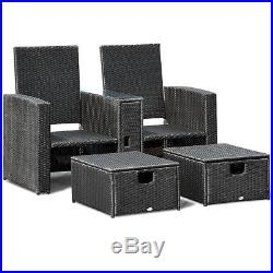 3PCS Patio Furniture Reclining Recliner Set Adjustable Backrest Rattan Ottoman
