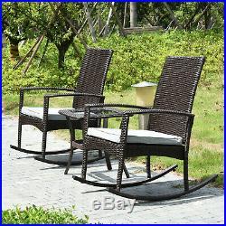 Refurbrished Patio Bistro Set 3 PCS Outdoor Rocking Chair Rattan