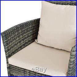 3PCS Patio Rattan Furniture Set Chairs & Table Garden Coffee