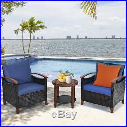3PCS Patio Rattan Furniture Set Conversation Bistro Cushion Sofa Round Table