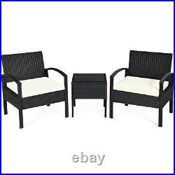 3PCS Patio Rattan Furniture Set Conversation Sofa Cushioned Coffee Table Outdoor