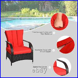 3PCS Patio Rattan Wicker Conversation Set Outdoor Furniture Set with Red Cushions