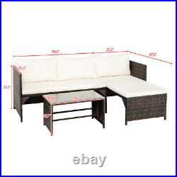 3PCS Patio Wicker Rattan Sofa Set Outdoor Furniture Sectional Couch with Cushion