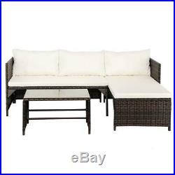 3PCS Rattan Patio Furniture Set Lawn Sofa Table Set /w Cushion Seat PE Wicker US