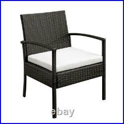 3PCS Rattan Patio Furniture Sofa Set Garden Lawn Chairs Cushioned Seat + Table