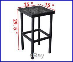 3PCS Rattan Wicker Bar Set Patio Outdoor Party Table & 2 Stools Furniture Black