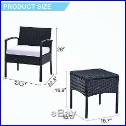 3PCS Rattan Wicker Patio Furniture Cushioned Set Table & Chair Outdoor Garden