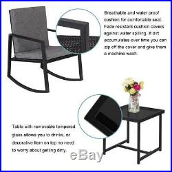 3PC All-Weather Rattan Wicker Furniture Rocking Chair Set of 2 Rocker Side Table