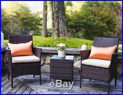 3PC Bar Set Patio Furniture Set Outdoor Brown Rattan Chair and Table