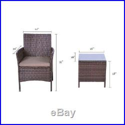 3PC Bistro Set Sectional Patio Furniture Set Brown Rattan Wicker Chair and Table