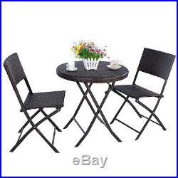 3PC Folding Round Table & Chair Bistro Set Rattan Wicker Outdoor Furniture