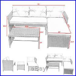 3PC Outdoor Patio Sofa Set Rattan Wicker Deck Couch Garden Furniture